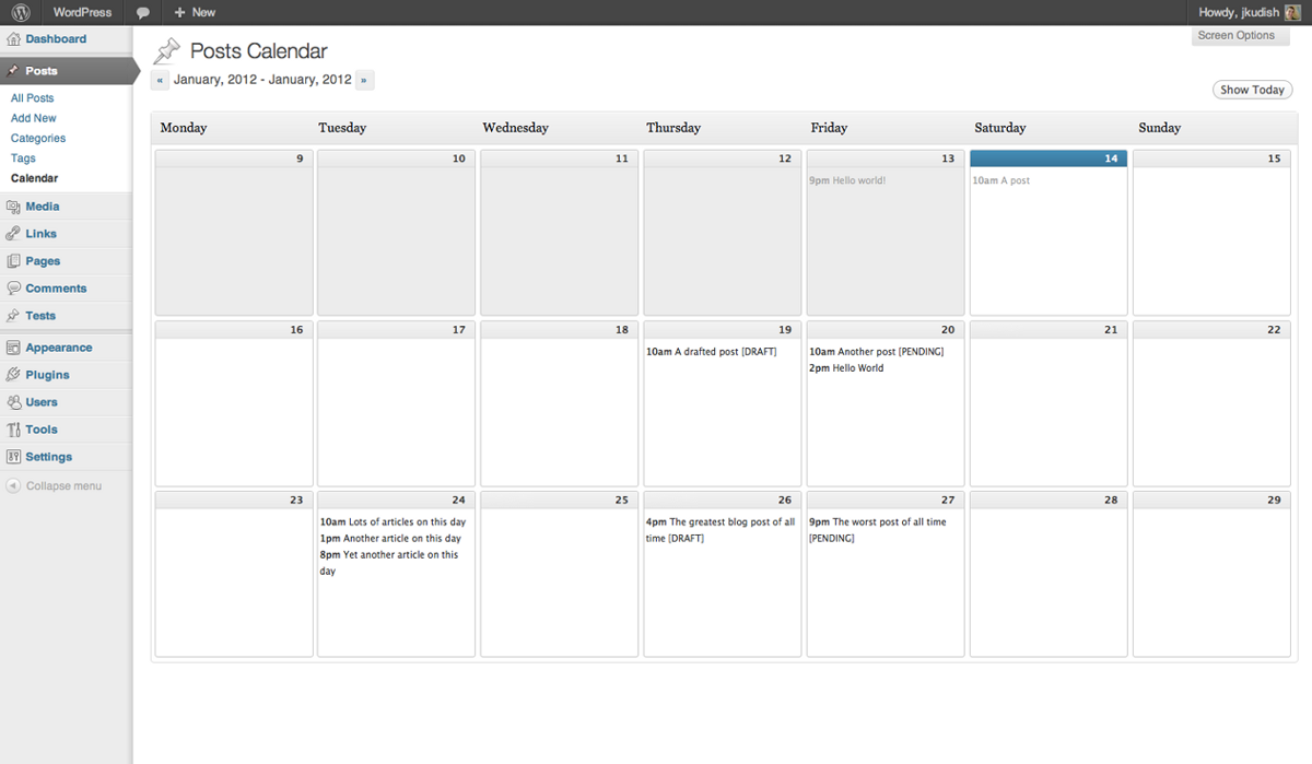 wordpress calendar content marketing