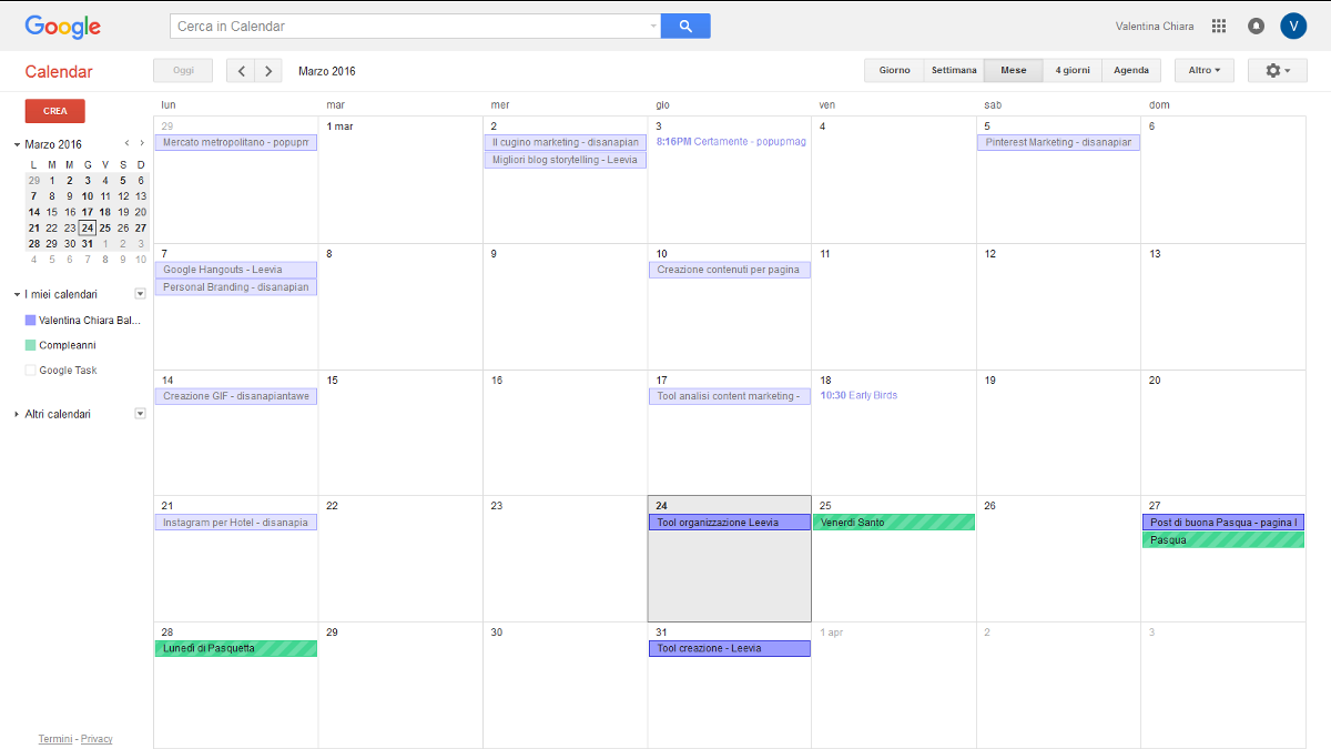 Google calendar content marketing