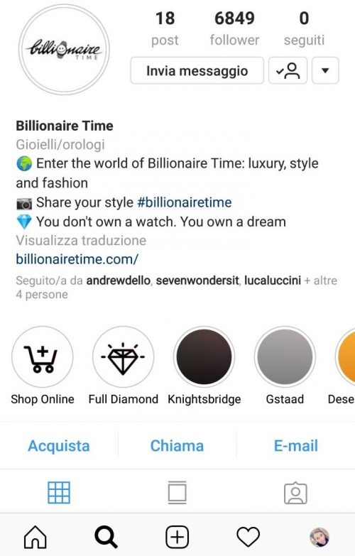 instagram business billio