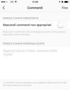 Instagram: moderazione commenti