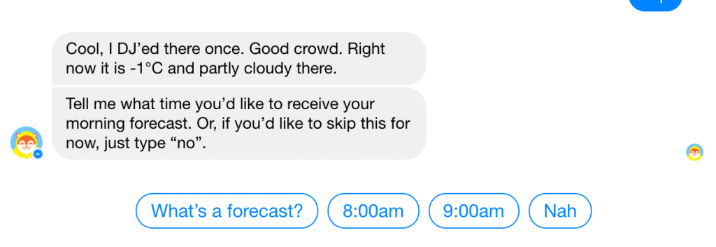 facebook chat bot meteo