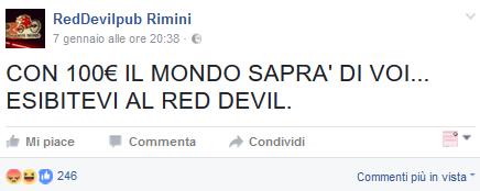 Red Devil Pub Rimini: provocazione al sapore di autogol