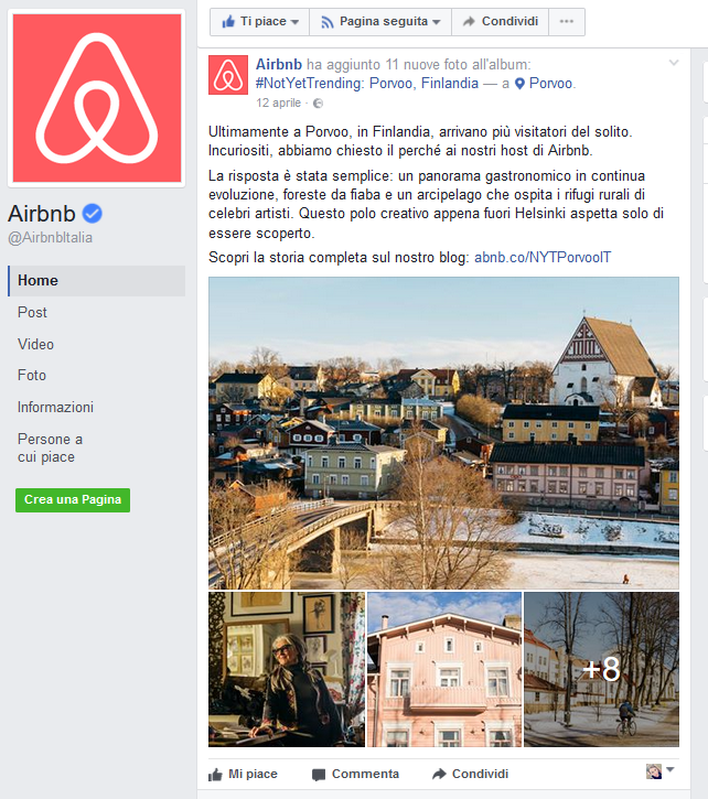 content marketing esempi: airbnb
