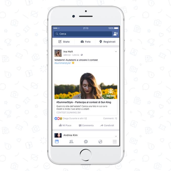 condivisione post su Facebook contest online Leevia