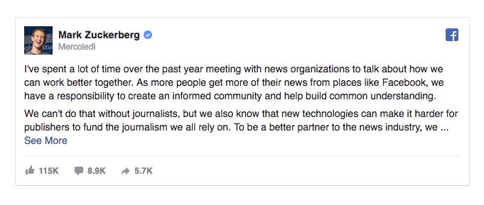 Dichiarazione Zuckerberg
