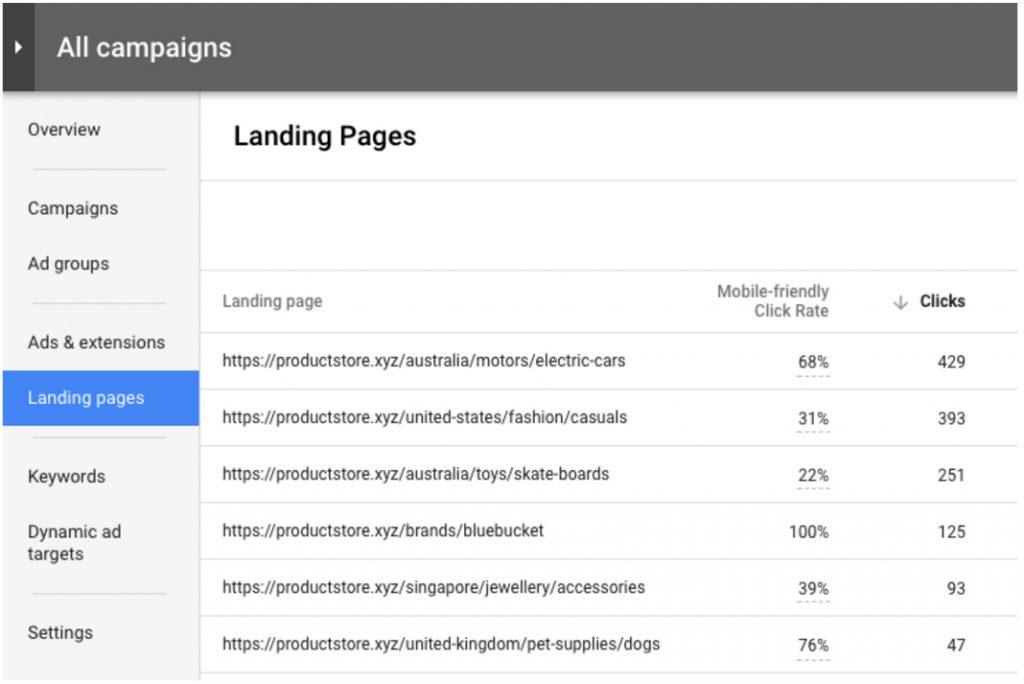 Google Landing Page tester