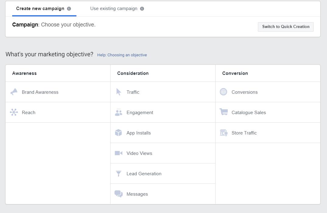 scegliere l'obiettivo lead generation su facebook