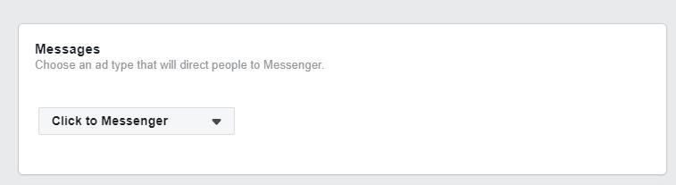 gruppo di inserzioni scegliere click a messanger