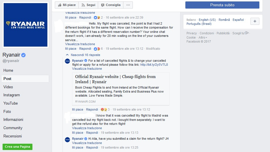 Ryanair crisi