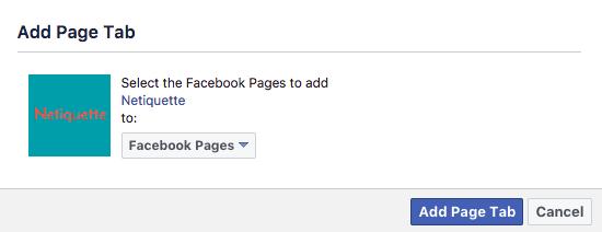 Aggiungi tab a pagina facebook - Netiquette