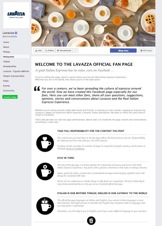 Netiquette Facebook - Lavazza