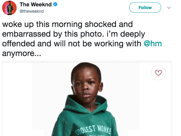 the-weeknd-tweeted-that-he-was-cutting-ties-with-hm-over-a-shocking-sweatshirt-ad-many-accused-of-being-racist