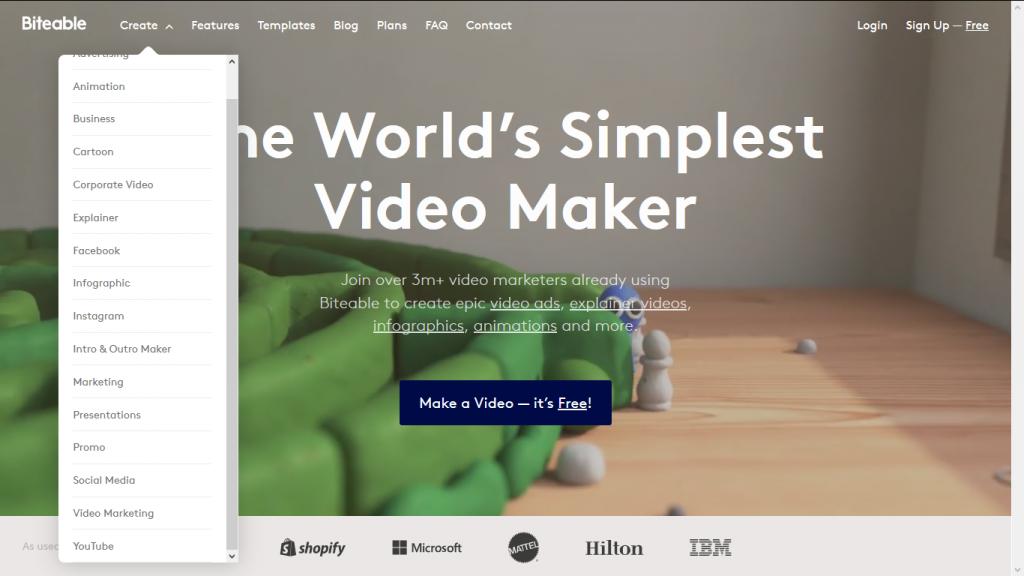 biteable tool per creare video