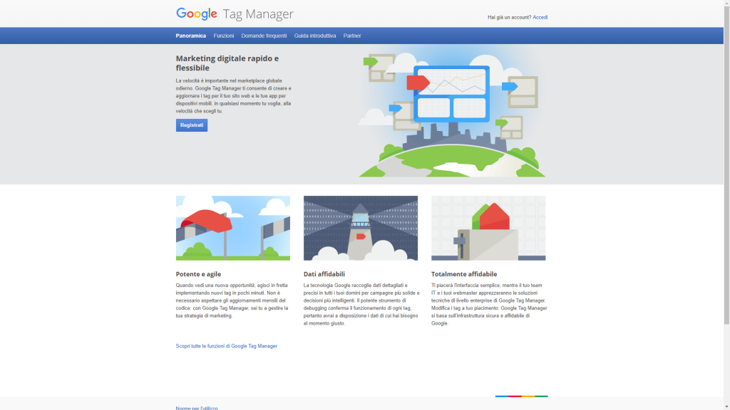 Google Tag Manager pagina iniziale