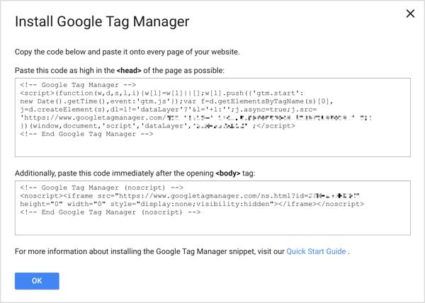 Google Tag Manager codice