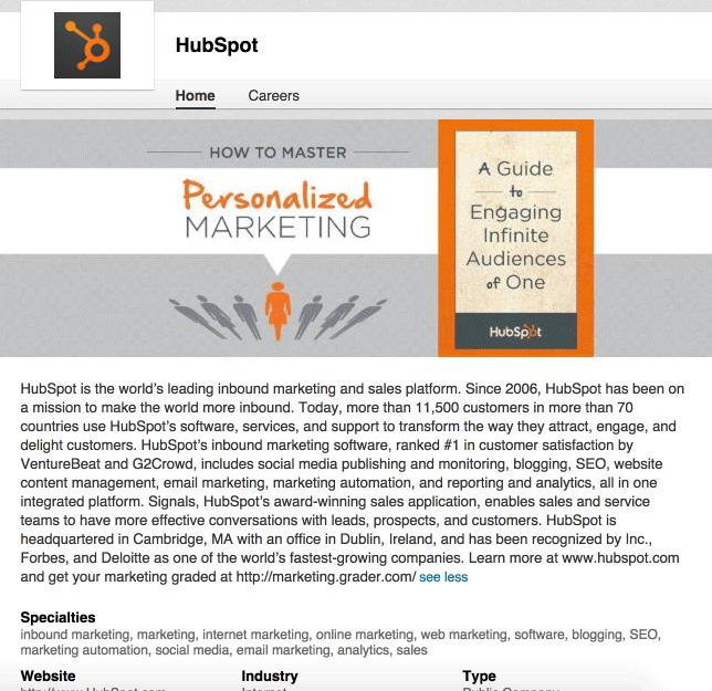 pagina linkedin hubspot lead generation B2B