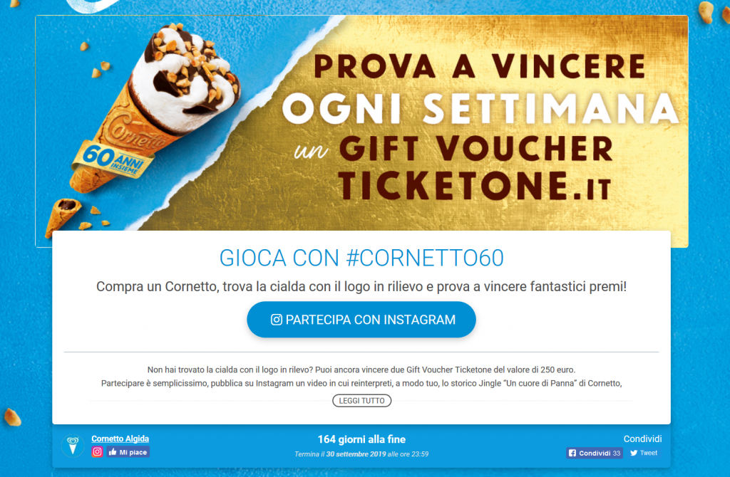 Cornetto algida contest Leevia success stories