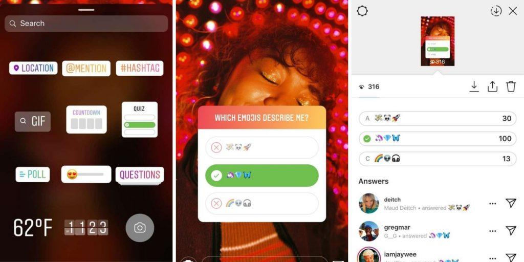 Instagram Stories quiz Weekly marketing recap