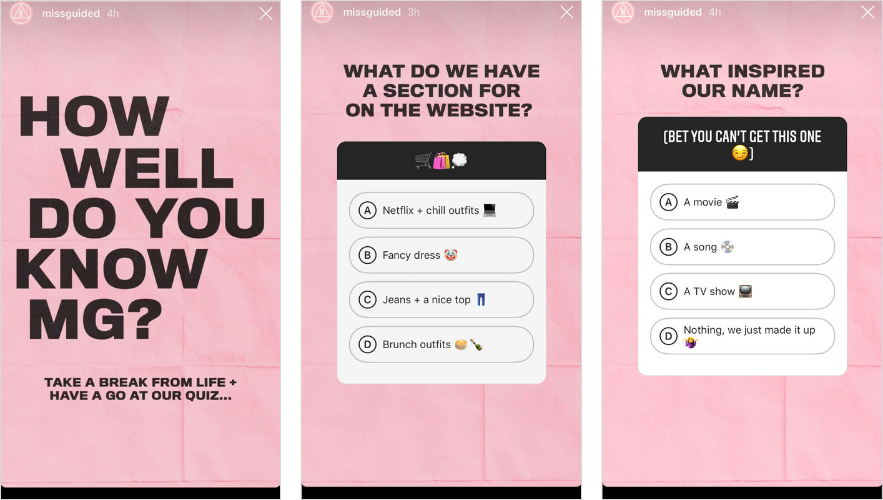 missguided Quiz instagram stories