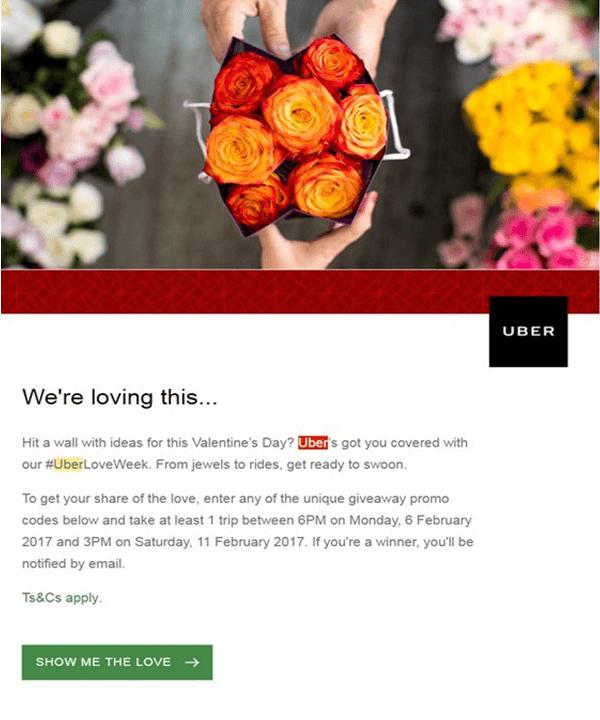 Campagne per san valentino uber