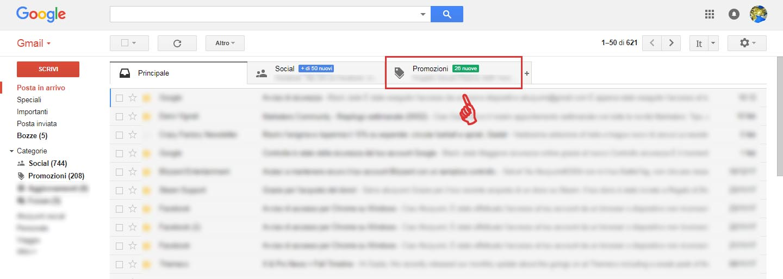 tab gmail promozioni come uscirne