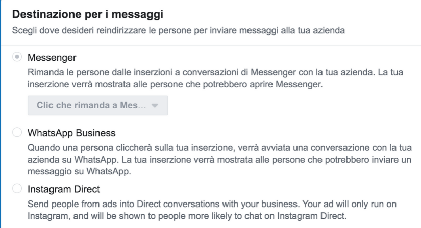 obiettivo messaggi anche su whatsapp e instagram