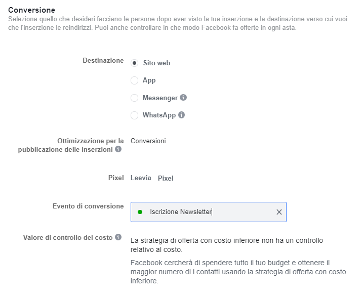 conversione facebook ads