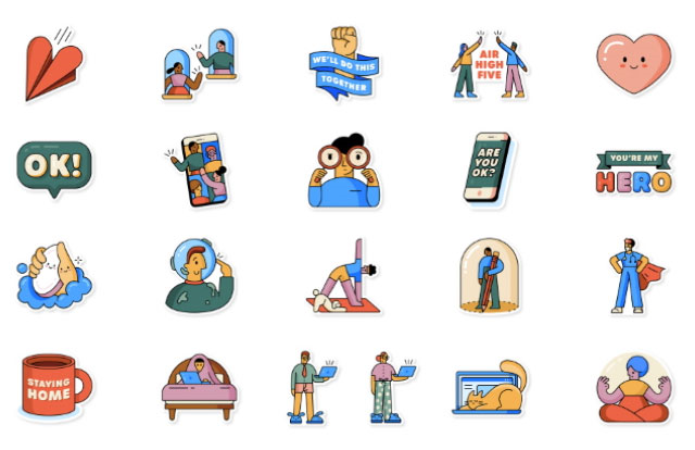 Together at home WhatsApp stickers