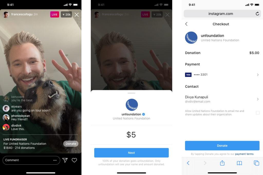donazioni live instagram esempio