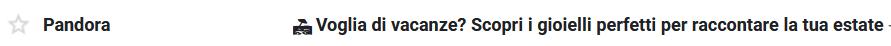 pandora oggeto email