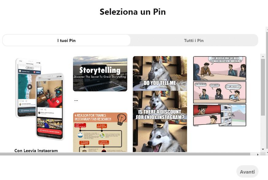 pinterest ads scelta del pin