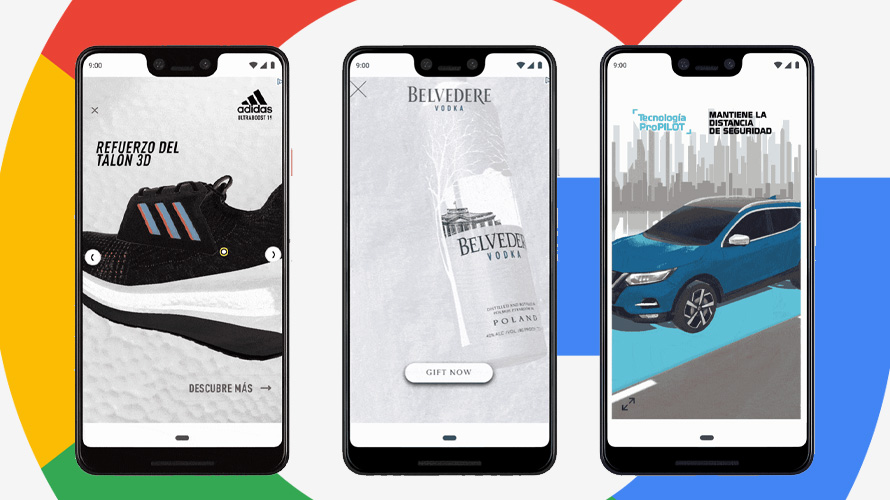 Google 3D swirl ads