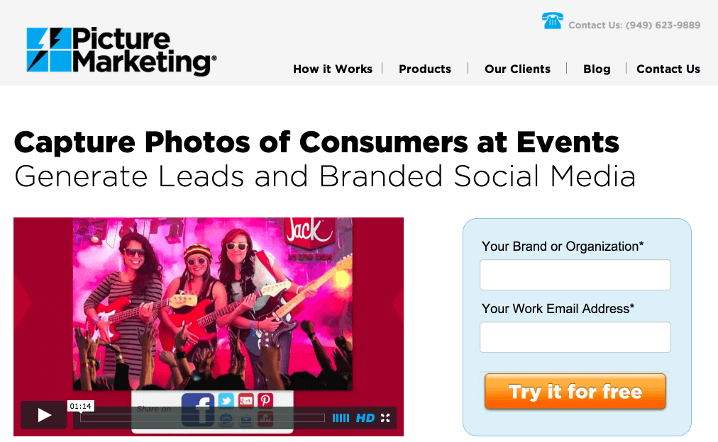 picture marketing landing page