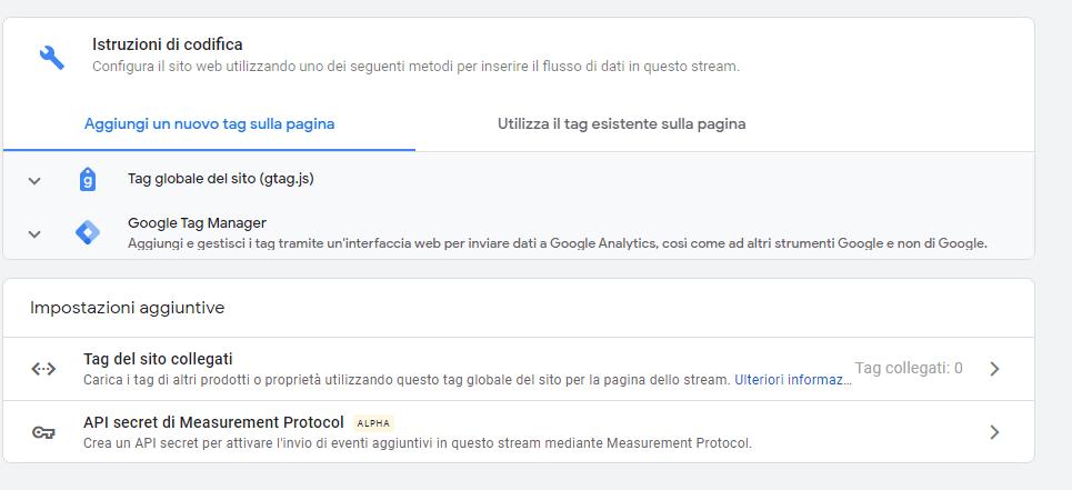 Google Analytics 4 impostazione feed di dati (1)