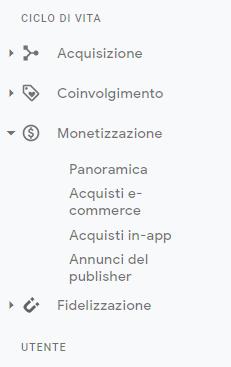 Google Analytics 4 menu laterale con coinvolgimento monetizzazione e fidelizzazione (1)
