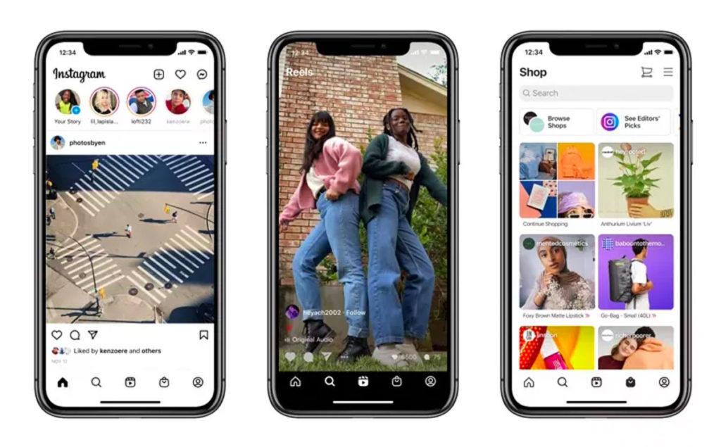 Instagram aggiunge Reels e Shopping alla sua schermata principale