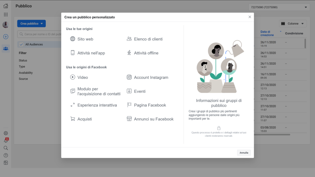 come creare pubblico personalizzato facebook