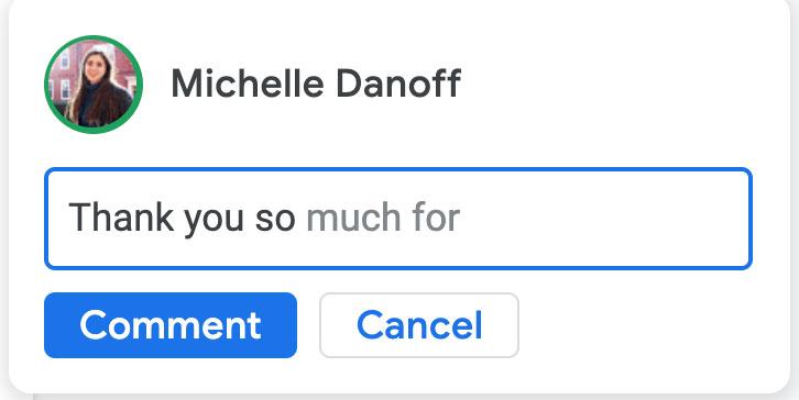 Google Docs introduce la composizione smart e la correzione automatica nei commenti