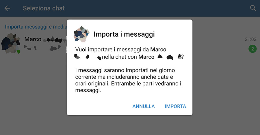 Da WhatsApp a Telegram con l'importazione delle chat