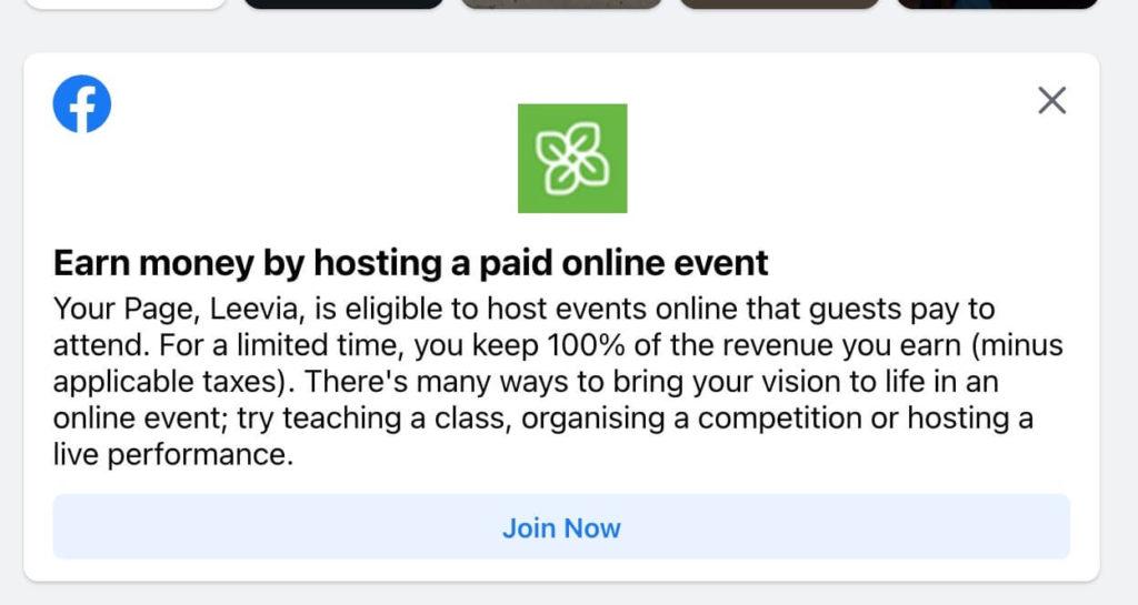 eventi online a pagamento su facebook