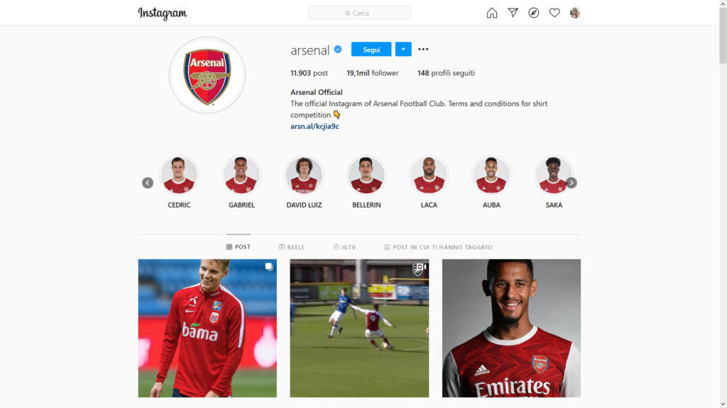 profilo instagram arsenal