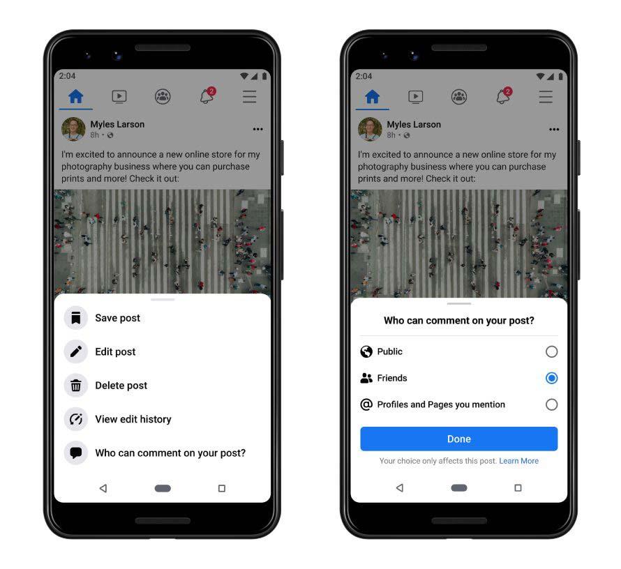 Ora puoi controllare i commenti dei tuoi post personali facebook