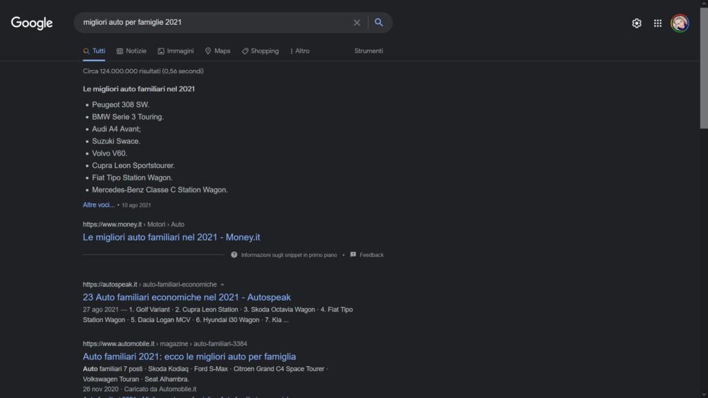 ricerca google segmentazione del database